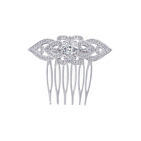 DiamonArt Sterling Silver Cubic Zirconia Heart Hair Comb, One Size , No Color Family