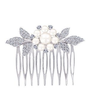 DiamonArt Sterling Silver Freshwater Pearl Flower Hair Comb, One Size , No Color Family