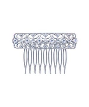 Diamonart Sterling Silver Cubic Zirconia Princess Hair Comb, One Size , No Color Family
