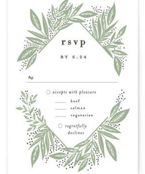 Diamond Leaves Letterpress RSVP CardsP Cards