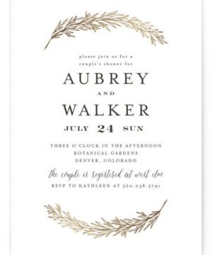 Dipped Laurels Foil-Pressed Bridal Shower Invitations