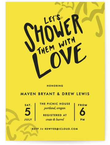 Drawn With Love Bridal Shower Invitations