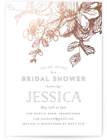 Elegance Illustrated Foil-Pressed Bridal Shower Invitations
