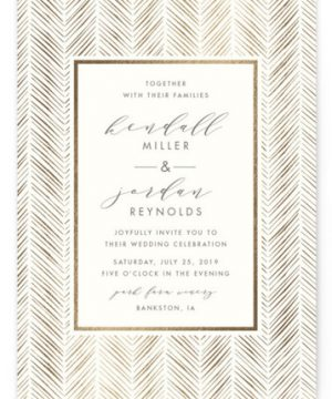 Elegant Herringbone Foil-Pressed Wedding Invitations