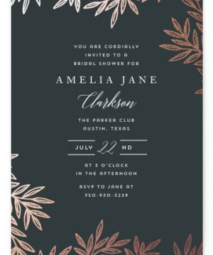 Elegant Leaves Foil-Pressed Bridal Shower Invitations