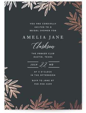 Elegant Leaves Foil-Pressed Bridal Shower Invitations