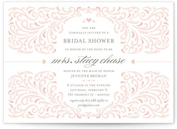 Elegant Piping Bridal Shower Invitations
