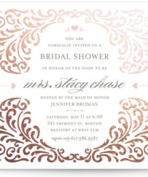 Elegant Piping Foil-Pressed Bridal Shower Invitations