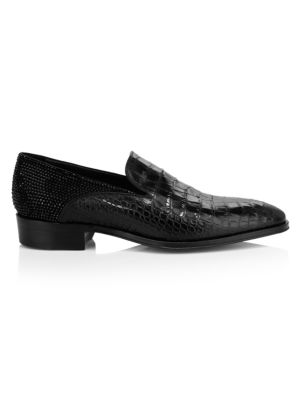 Embellished Croc-Embossed Leather Dress Shoes