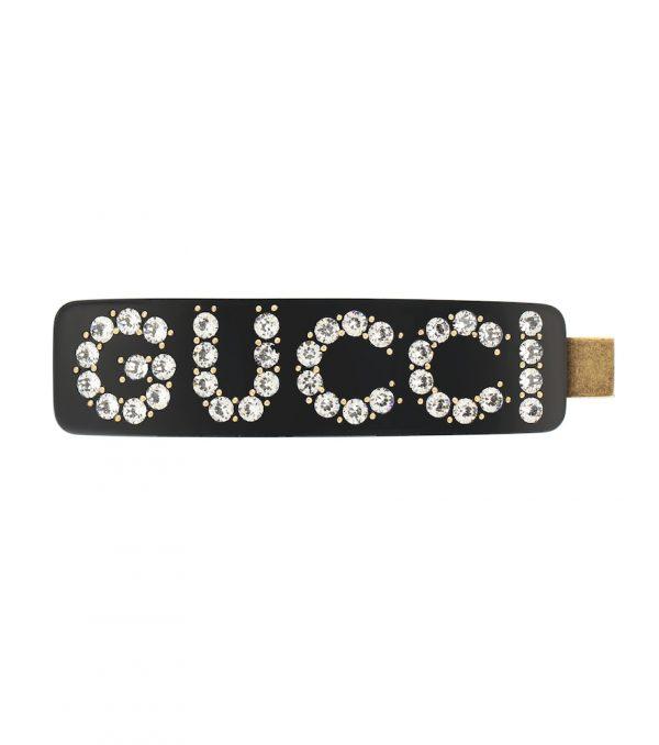 Embellished logo hair clip