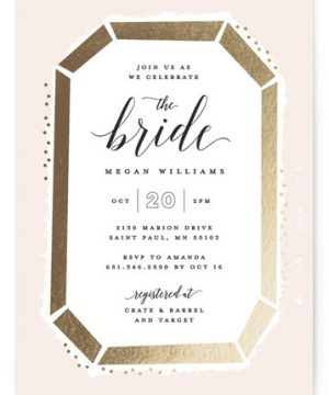 Emerald Cut Foil-Pressed Bridal Shower Invitations
