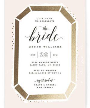 Emerald Cut Foil-Pressed Bridal Shower Invitations