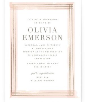 Engaging Foil-Pressed Bridal Shower Invitations