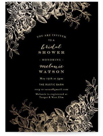 Engraved Flowers Foil-Pressed Bridal Shower Invitations