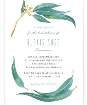 Eucalyptus Leaves Bridal Shower Invitations