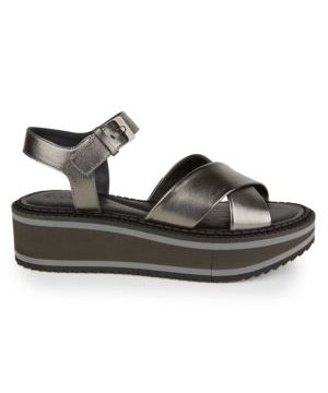 Fara Metallic Leather Platform Wedge Sandals