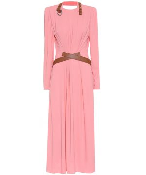 Faux leather-trimmed maxi dress