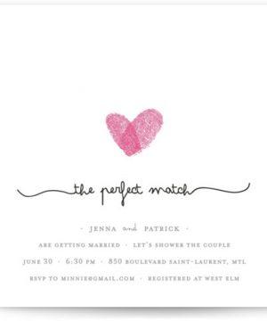 Fingerprint Heart Bridal Shower Invitations