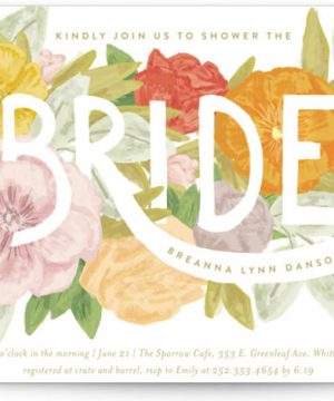 Floral Bride Banner Bridal Shower Invitations
