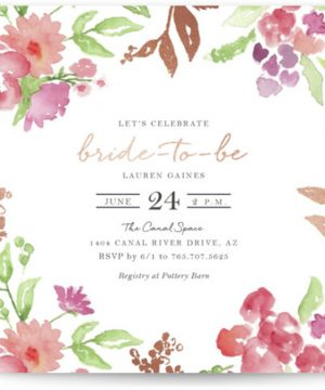 Floral Bride-to-Be Foil-Pressed Bridal Shower Invitations