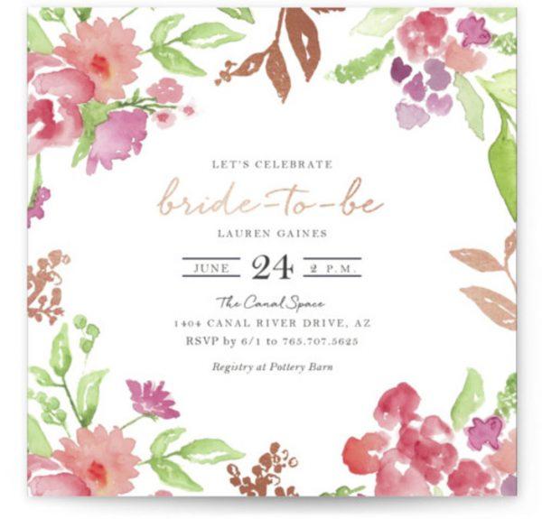 Floral Bride-to-Be Foil-Pressed Bridal Shower Invitations