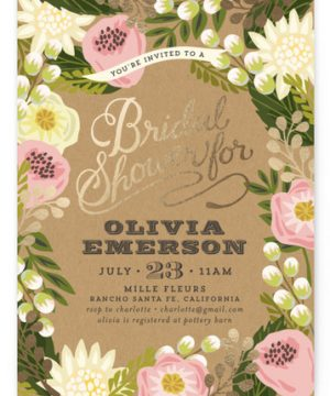 Floral Canopy Foil-Pressed Bridal Shower Invitations
