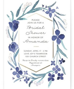 Floral Frame Foil-Pressed Bridal Shower Invitations