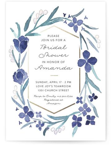 Floral Frame Foil-Pressed Bridal Shower Invitations