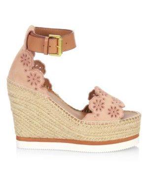 Floral Laser-Cut Suede Platform Espadrille Wedge Sandals