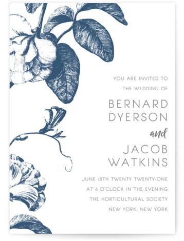 Floral Noir Letterpress Wedding Invitations