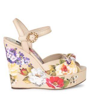 Floral-Print Leather Platform Wedge Sandals