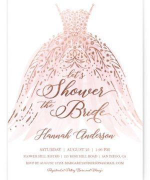 Floral Spray Foil-Pressed Bridal Shower Invitations