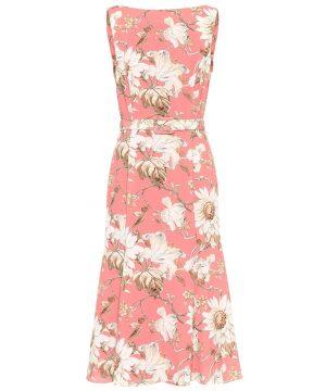 Floral boatneck crêpe midi dress