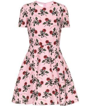Floral silk and wool-blend dress