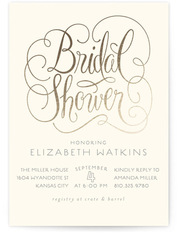 Flourished Foil-Pressed Bridal Shower Invitations