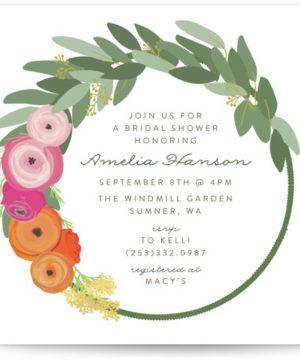 Flower Crown Bridal Shower Invitations