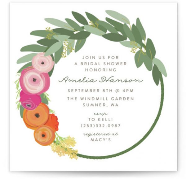 Flower Crown Bridal Shower Invitations