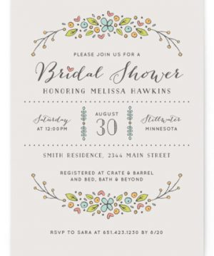 Flowers And Hearts Bridal Shower Invitations