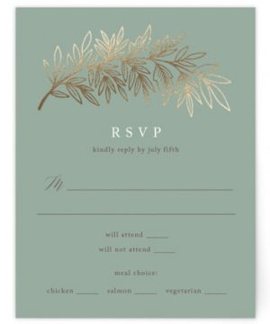 Foiled Branches Foil-Pressed RSVP CardsP Cards