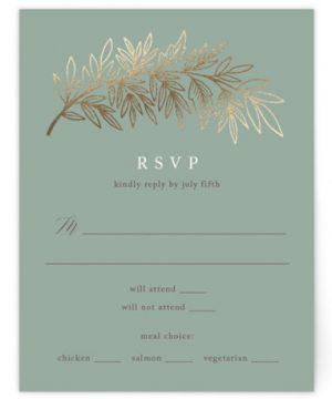 Foiled Branches Foil-Pressed RSVP CardsP Cards