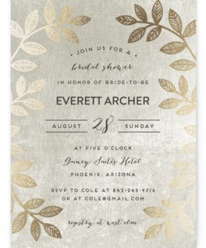 Folk Filigree Foil-Pressed Bridal Shower Invitations