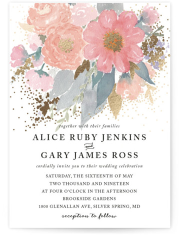 Fresh Watercolor Floral Foil-Pressed Wedding Invitations