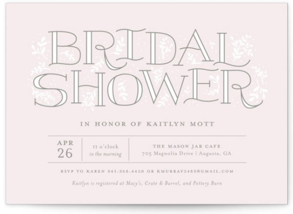 Frondescence Bridal Shower Invitations