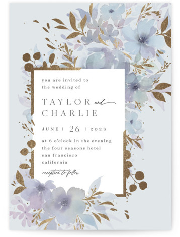 Frosted Blossoms Foil-Pressed Wedding Invitations