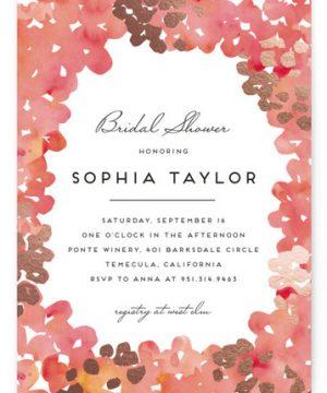 Garden Spring Blossom Foil-Pressed Bridal Shower Invitations