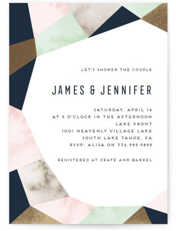 Geo Elegance Foil-Pressed Bridal Shower Invitations