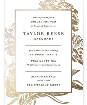 Gilded Bloom Foil-Pressed Bridal Shower Invitations