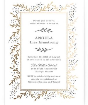 Gilded Branches Foil-Pressed Bridal Shower Invitations
