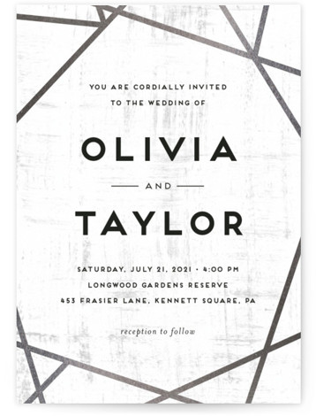 Gilded Concrete Foil-Pressed Wedding Invitations