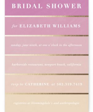Gilded Gradient Foil-Pressed Bridal Shower Invitations